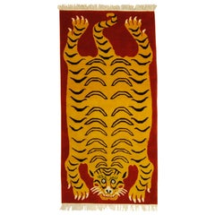 21st Century Customizable Red and Yellow Tiger Tibetan Prayer Rug , 2019