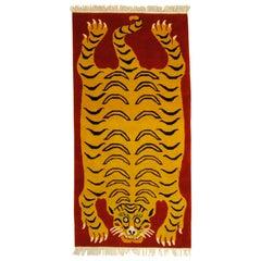 21st Century Red and Yellow Tiger Tibetan Rug Prayer, 2019