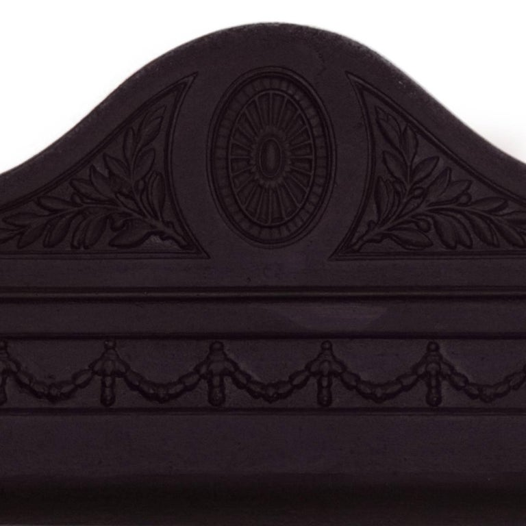 """A real Genuine Reproduction of """"The Regency Basket"""" made by Acquisitions of London to the exact design of the original fireplace basket - dog grate. Known as a continuation due to having its original pattern. Blackened cast iron decorative fireback,"""