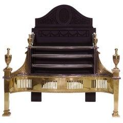 21st Century Regency Brass and Cast Iron Fireplace Basket