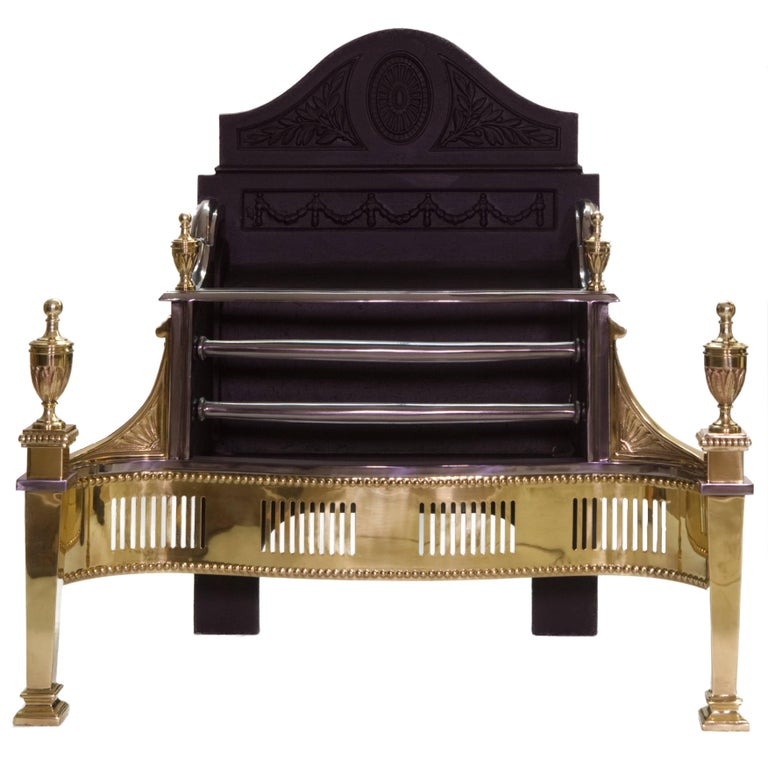 21st Century Regency Brass and Cast Iron Fireplace Basket For Sale