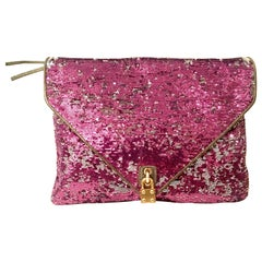 21st Century Reverse Sequin & Leather Envelope Clutch Handbag By, Alexis Hudson