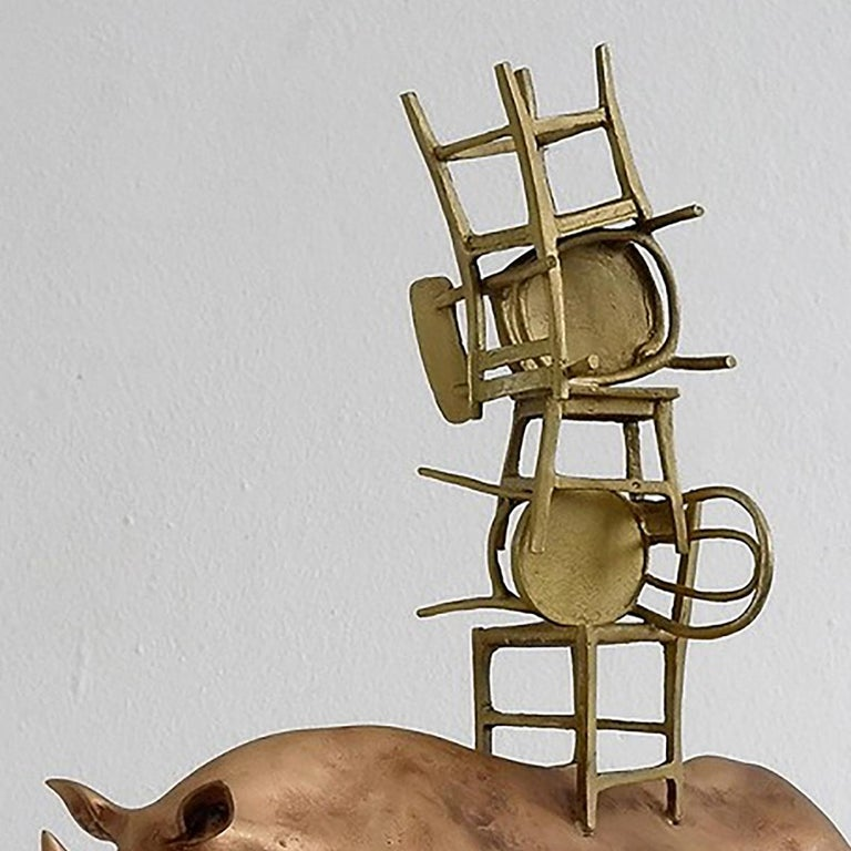 Italian 21st Century Rhino with Chairs Sculpture by Marcantonio, Polished Bronze For Sale