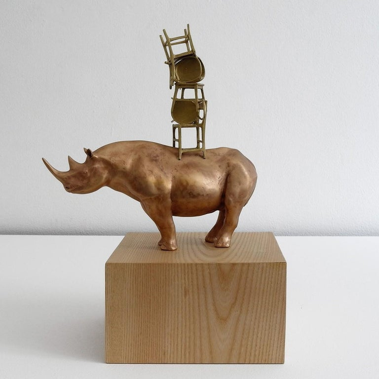 21st Century Rhino with Chairs Sculpture by Marcantonio, Polished Bronze In New Condition For Sale In Cesena, IT