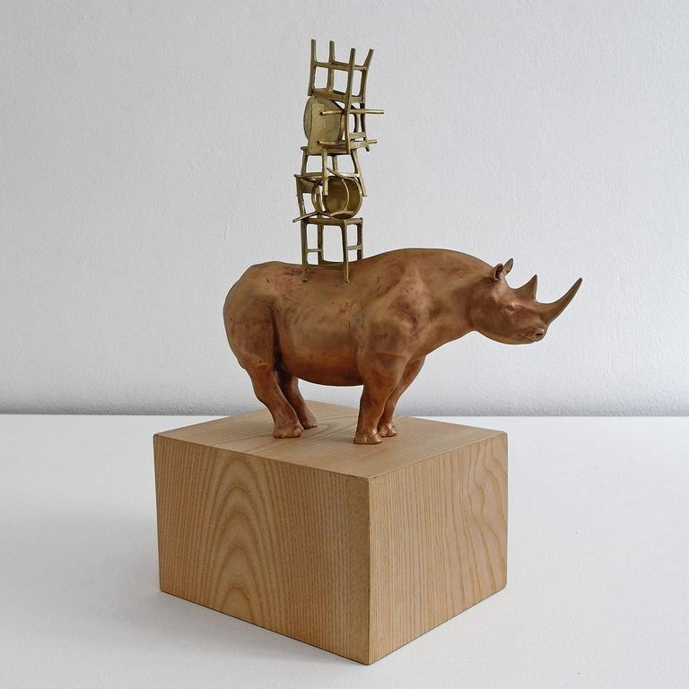 21st Century Rhino with Chairs Sculpture by Marcantonio, Polished Bronze For Sale 1