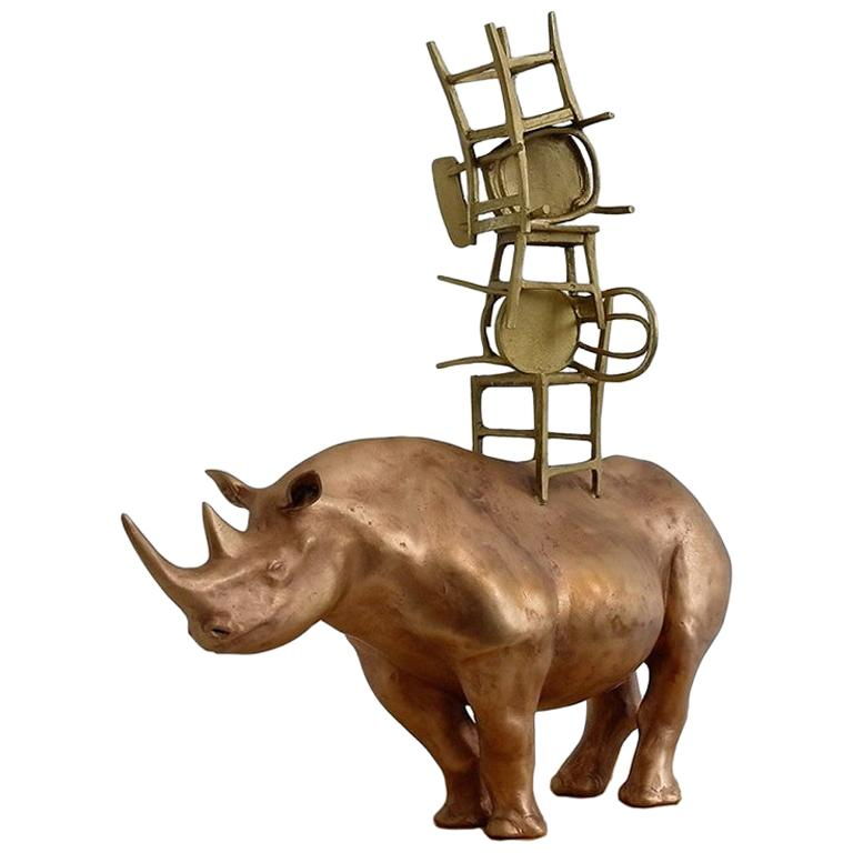 21st Century Rhino with Chairs Sculpture by Marcantonio, Polished Bronze For Sale