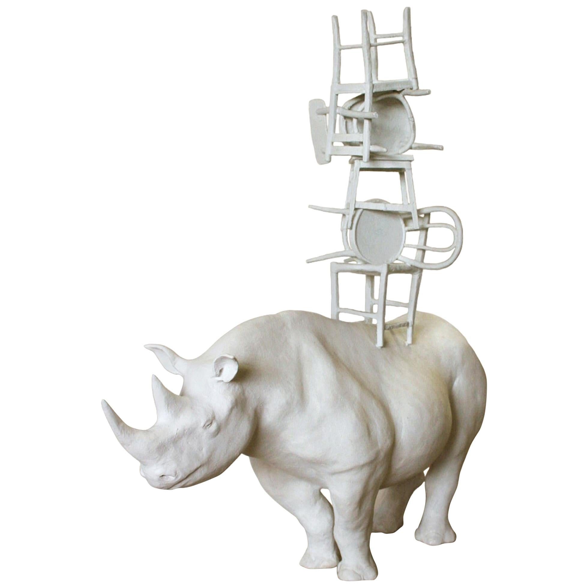 21st Century Rhino with Chairs Sculpture by Marcantonio, White Painted Bronze