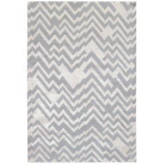21st Century Rocky Peaks Rug in Gray and Beige Geometric Design of Silk and Wool