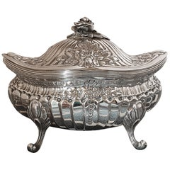 21st Century Rococo Style Sterling Silver Sugar Box, Italy, 2005