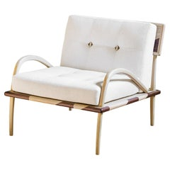 21st Century Romanza Armchair in Ash, Walnut, Quilted Fabric, Made in Italy