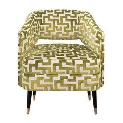 21st Century Romy Armchair Cotton Velvet Wood Brass