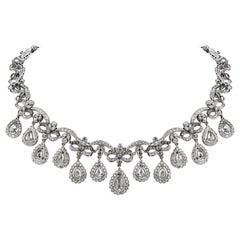 21st Century Rose Cut Diamond 18K Gold Edwardian Link Necklace