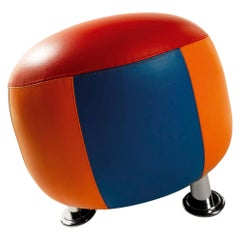 21st Century Round Pouf Eco-Leather Design by Anna Gili Milan Made in Italy