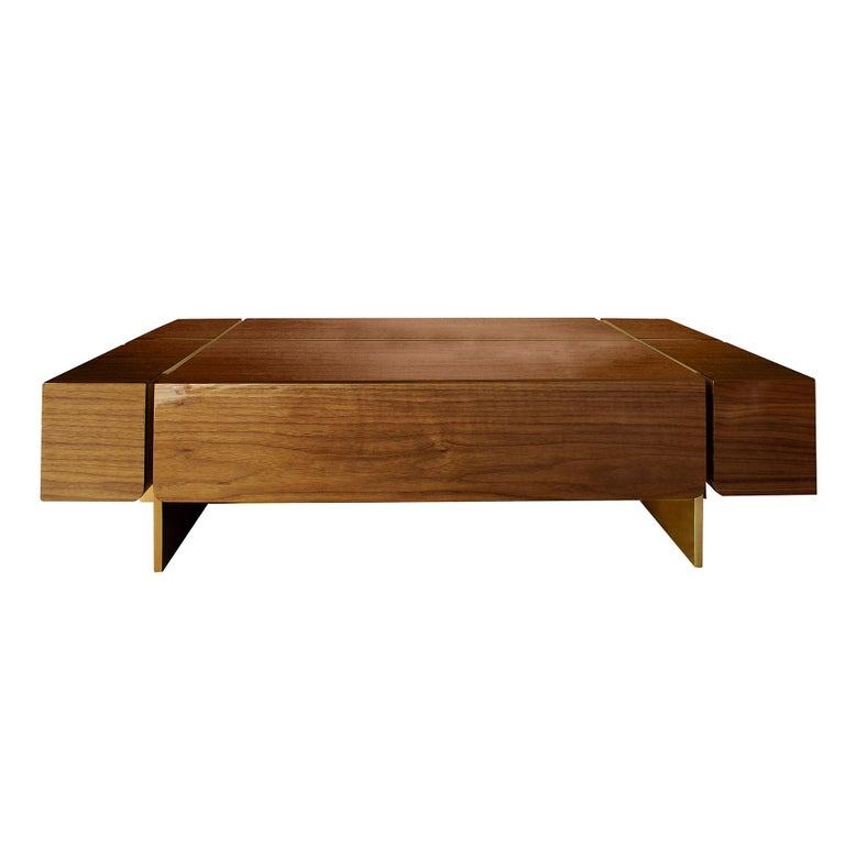 Varnished 21st Century Route Center Table Walnut Wood For Sale