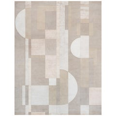 21st Century Carpet Rug District in Himalayan Wool and Silk Ivory, Beige, Greige