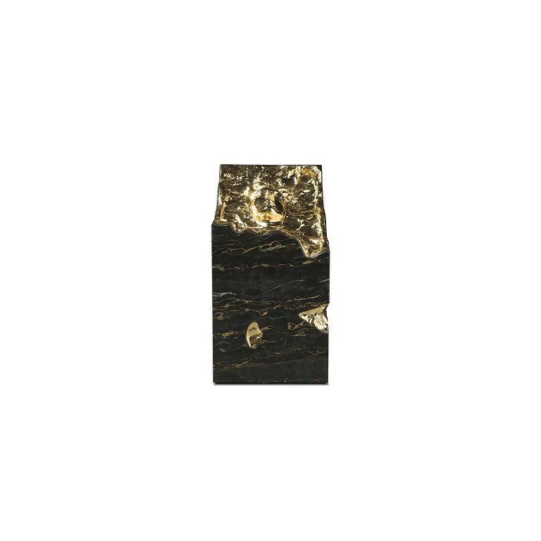 """1. Product description:  The """"Ruins"""" console table is made with high-end black Portoro marble and 24 karat gold plated hammered brushed brass. Apollo's face and the fissures of this console table shows the level of detailed work made by a group of"""
