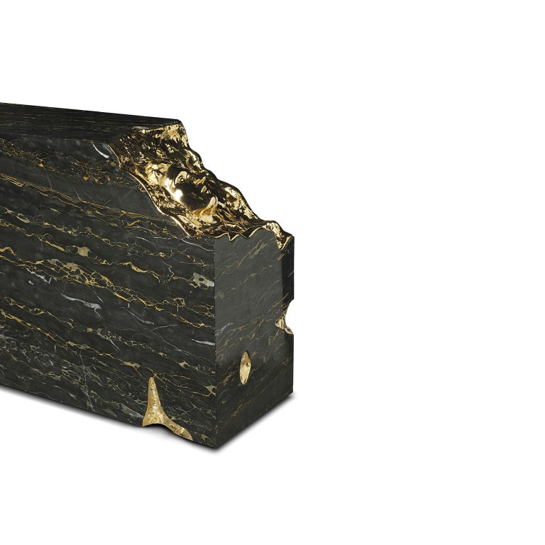 Modern 21st Century Ruins Console Table, Portoro Marble, Golden Hammered Brushed Brass For Sale