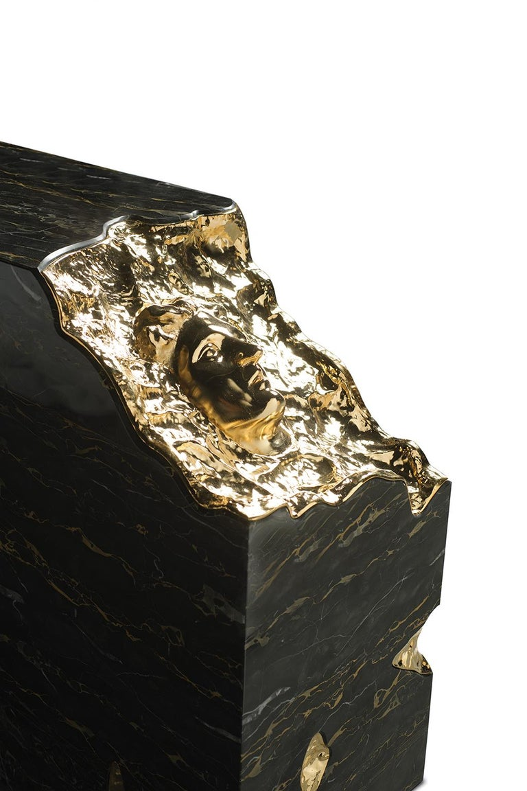 Contemporary 21st Century Ruins Console Table, Portoro Marble, Golden Hammered Brushed Brass For Sale