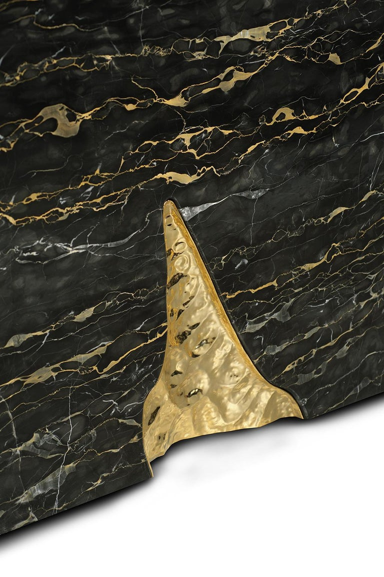 21st Century Ruins Console Table, Portoro Marble, Golden Hammered Brushed Brass For Sale 1