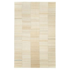 21st Century Rustic Farmhouse Modern Persian Flat-Weave Kilim Cream Accent Rug