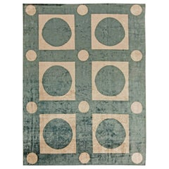 21st Century Sage Green and Beige Checker Board Handmade Silk Rug