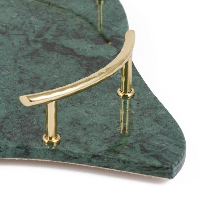 Modern Sakai Tray Polished Green Guatemala Marble Polished Hammered Brass For Sale