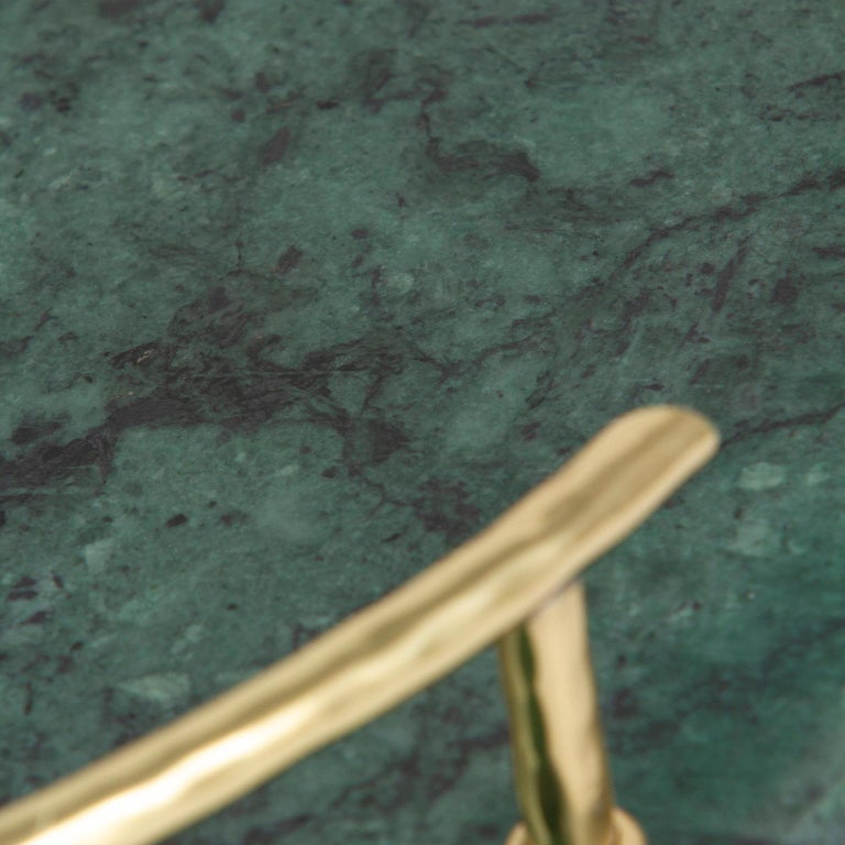 Sakai Tray Polished Green Guatemala Marble Polished Hammered Brass In New Condition For Sale In Cartaxo, PT