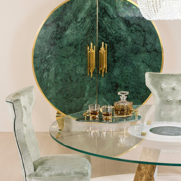 Contemporary Sakai Tray Polished Green Guatemala Marble Polished Hammered Brass For Sale