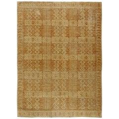 21st Century Samarkand Beige and Brown Handmade Wool Carpet