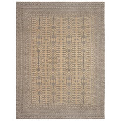 21st Century Samarkand Beige and Gray Sepia Hand Knotted Wool Rug