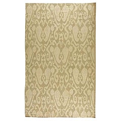 Contemporary Sandy Beige and Light Gray Flat-Woven Wool Kilim Rug
