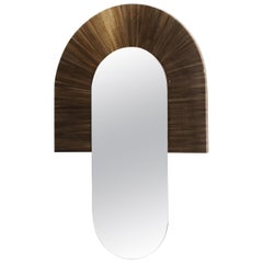 21st Century Santa Mirror Straw Resin Marquetry Brown by Marco Sorrentino