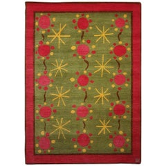 21st Century Scandinavian Style Rug 37 Handmade Wool in Green, Pink and Yellow