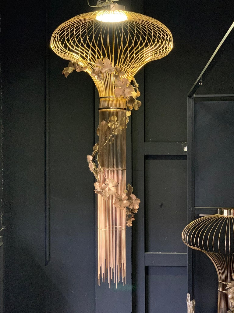 Mid-Century Modern 21st Century Sculptural Modern Handmade Led Chandelier in Brass and Lost Wax For Sale