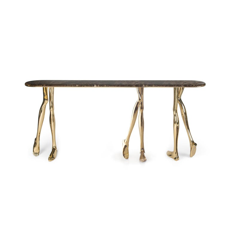 "1. Product description:  The ""Monroe Big"" console table is made of polished brass cast with a Brown Emperador Italian marble complementing the set. After smelting, a process known for thousands of years widely used in brass and bronze sculptures and"