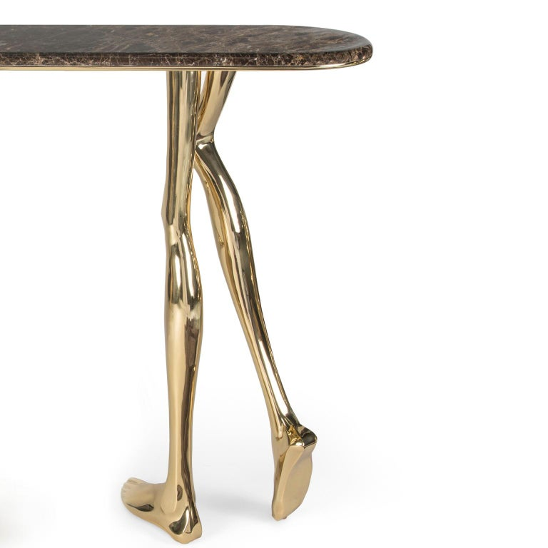 Portuguese 21st Century Sculptural Monroe Console Table, Polished Brass and Brown Marble For Sale