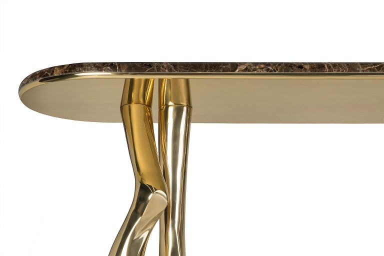 Cast 21st Century Sculptural Monroe Console Table, Polished Brass and Brown Marble For Sale