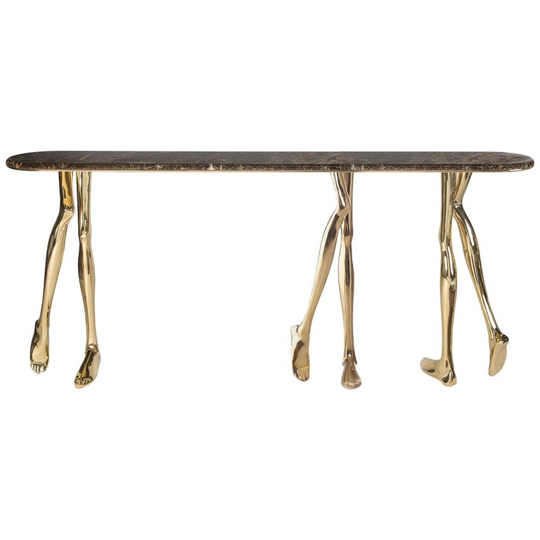 21st Century Sculptural Monroe Console Table, Polished Brass and Brown Marble For Sale