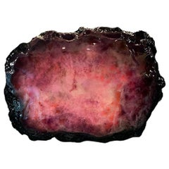 """21st Century Sculpture """"Magenta Experiency"""" by André Poli Resin MixMedia Black"""