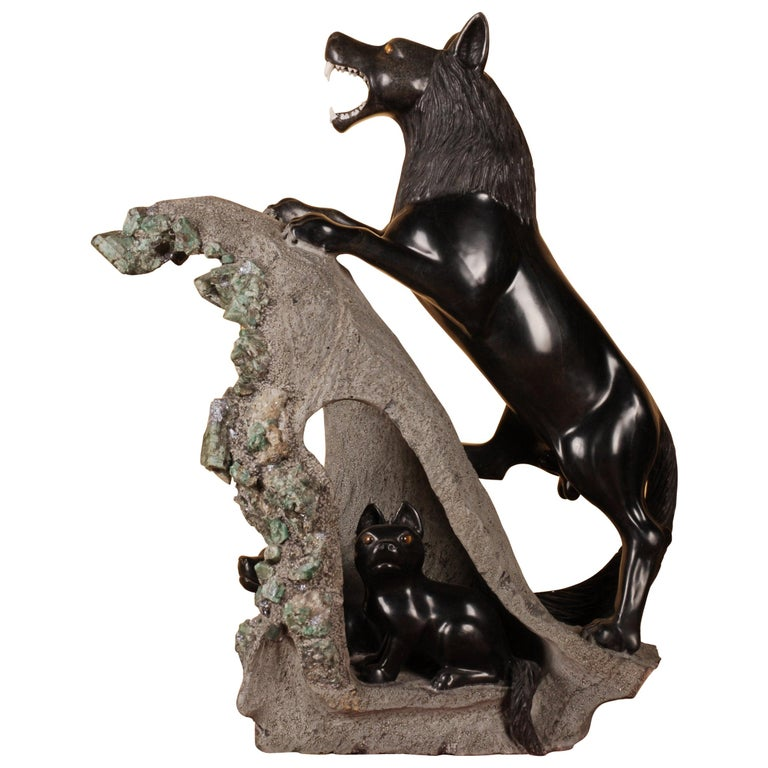 """21st Century Sculpture """"Wolf with the Boys"""" For Sale"""