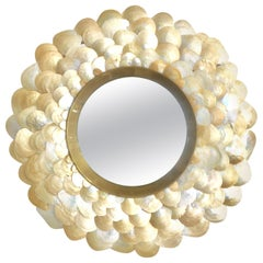 21st Century Sea Shell and Brass Round Convex Hanging Wall Mirror