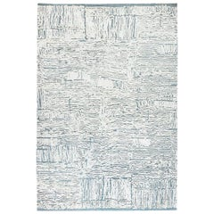 21st Century Seafoam White, Gray and Light Blue High-Low Silk and Wool Rug