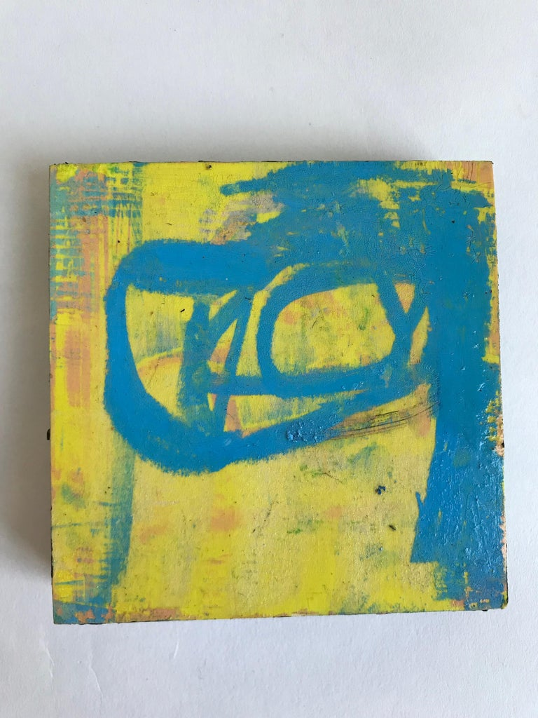 American 21st Century Set of Six Abstract Tiles Painted by Greg Dickerson For Sale