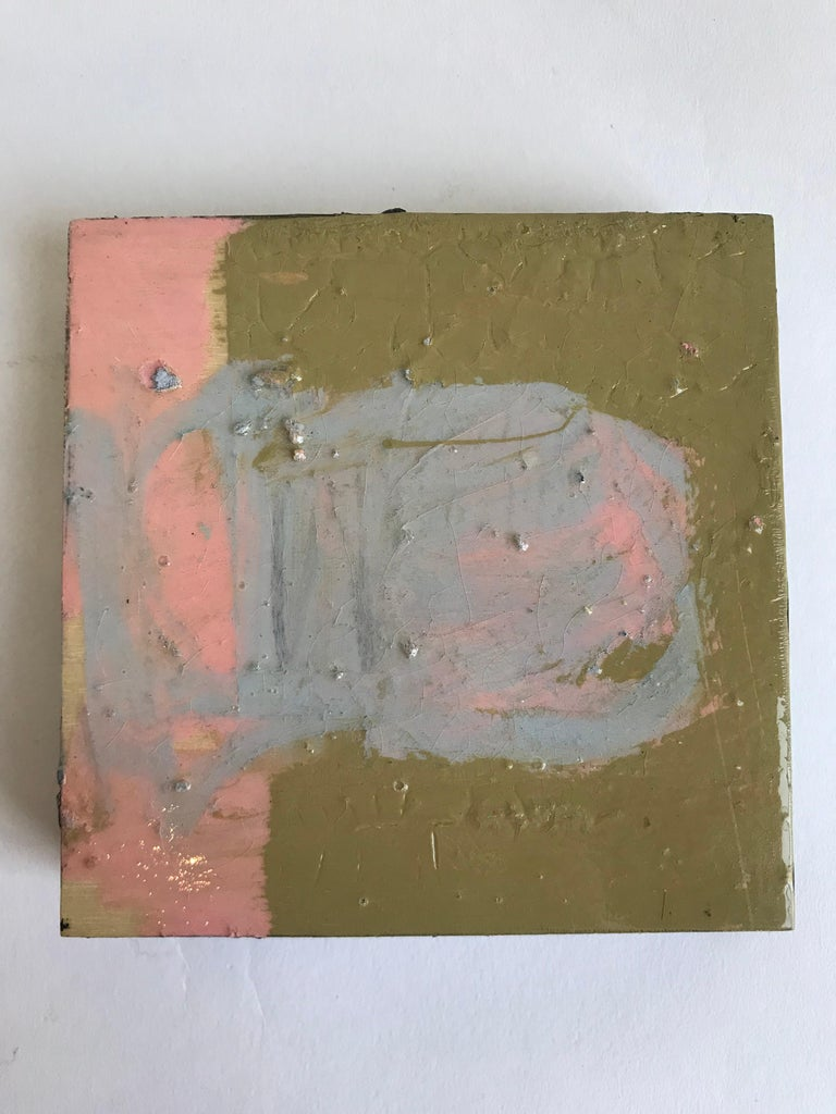 Hand-Painted 21st Century Set of Six Abstract Tiles Painted by Greg Dickerson For Sale