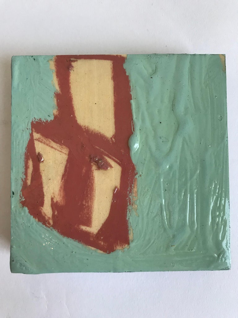 21st Century Set of Six Abstract Tiles Painted by Greg Dickerson In Excellent Condition For Sale In Chicago, IL