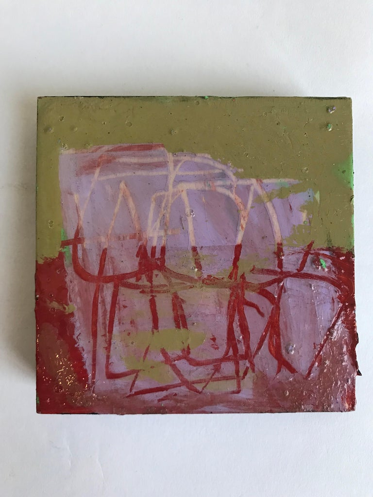 Contemporary 21st Century Set of Six Abstract Tiles Painted by Greg Dickerson For Sale