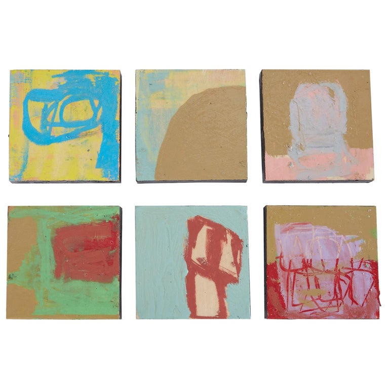 21st Century Set of Six Abstract Tiles Painted by Greg Dickerson For Sale