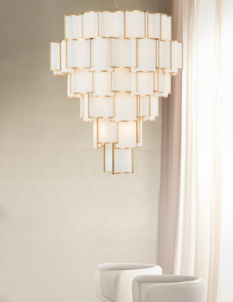 Art Deco 21st Century Shade Chandelier by Officina Luce Ivory Parchment and Brass Shades For Sale