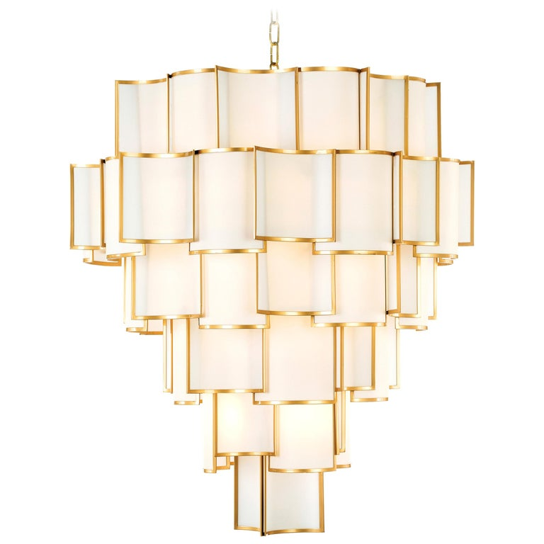 21st Century Shade Chandelier by Officina Luce Ivory Parchment and Brass Shades For Sale