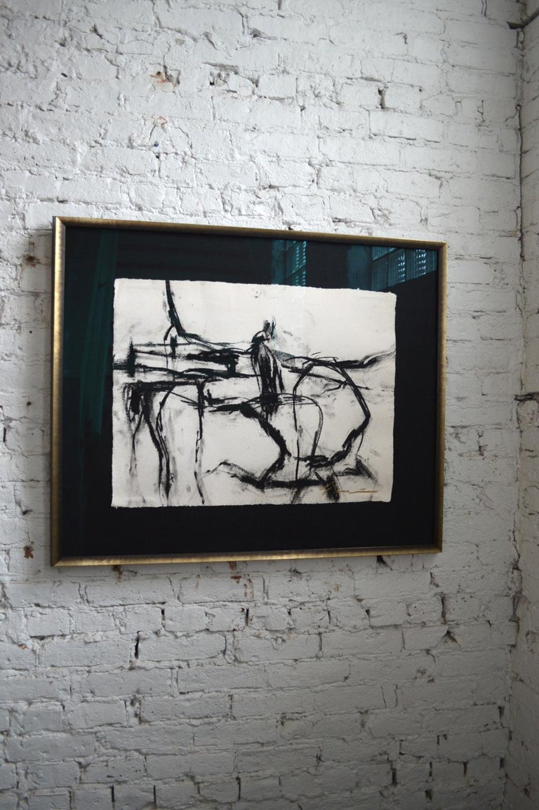 21st century signed painting by artist Francine Turk framed in custom frame. Francine Turk is a Chicago based fine artist with an incredible roster of collectors. She is most known for her work in charcoal nudes which were featured in the movie